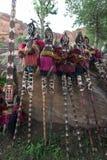 tancerzy dogon Mali maskowa tradycyjna wioska Zdjęcia Royalty Free