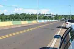Tancredo Neves bridge that borders Brazil and Argentina. Foz do Iguacu, Brazil - January 07, 2018: Tancredo Neves bridge that borders Brazil and Argentina Royalty Free Stock Photo