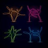 Tanczyć swirly kreskowe postacie jarzy się set Zdjęcie Stock