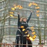 Tanczyć i wyczyny kaskaderscy z ogieniem Zdjęcie Royalty Free