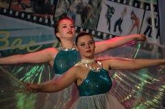 Tanczy z skrzydłami w konkursu życiu w tanu w miasteczku Kondrovo, Kaluga region w Rosja w 2016 Fotografia Stock