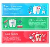 Tand- banerbakgrundsbegrepp med plana symboler Vektorillustration, tandläkekonst, ortodonti Sund rengöring stock illustrationer