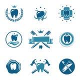 Tand- etiketter och symbolsuppsättning. Vektor Arkivfoton