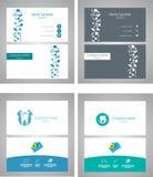 Tand- fastställt affärskort - vektorillustration royaltyfri illustrationer