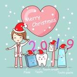 Tand med glad jul royaltyfri bild