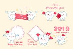 Tand med 2019 nya år royaltyfri illustrationer