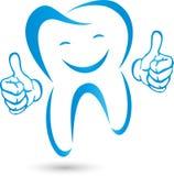Tand met handen en glimlach, Tand in blauw, tandheelkundeembleem, tand en tandzorgembleem, tandpictogram stock afbeelding