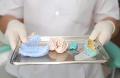 Tand- modeller och tand- avtryck, silikonmaterial Royaltyfri Fotografi