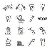 Tand- och medicinsk symbolsuppsättning Linje stilmaterielvektor royaltyfri illustrationer