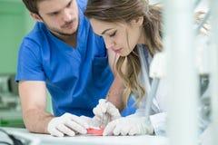 Tand- protes, tandproteser, prostheticsarbete Prostheticshänder, medan arbeta på tandprotesen, de falska tänderna, en studie och  Arkivbild