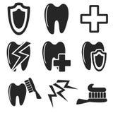 Tand- rengöringsduk och mobil symbolssamling vektor Arkivbilder