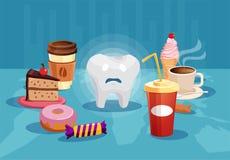 Tand som omges med sjuklig mat för socker royaltyfri illustrationer