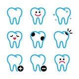 Tand, tandenpictogrammen in kleur worden geplaatst die Stock Foto's