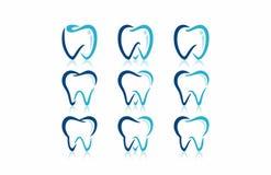 Tand- tandläkare Clinic Logo Icon Set vektor illustrationer