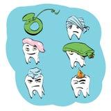 Tand- uppsättning av tandhälsa och muntlig hygien stock illustrationer