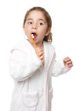 Tand zorg - kind het borstelen tanden Royalty-vrije Stock Foto's
