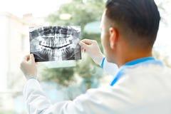 Tandarts Arts Looking bij Röntgenstraal bij het Ziekenhuis stock fotografie