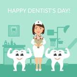 Tandarts arts met een boeket van bloemen Twee gezonde mooie witte tanden De kaart van de groet Internationale dag van Stock Afbeelding