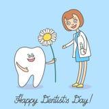 Tandarts Day De beeldverhaaltand die een madeliefje houden en geeft het aan tandartsvrouw royalty-vrije illustratie