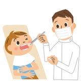 Tandarts en patiënt stock illustratie