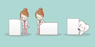 Tandarts met het aanplakbord van de tandgreep royalty-vrije illustratie