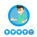 Tandarts met tand, vectorillustratie vector illustratie