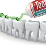 Tandbescherming, Tanden en tandpasta Royalty-vrije Stock Afbeeldingen