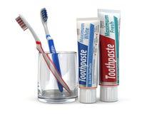 Tandbescherming, Tandpasta en tandenborstels. Stock Fotografie