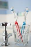 Tandborstar i badrum Fotografering för Bildbyråer