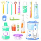 Tandborste för hygien för tandborstevektor tand- för att borsta tänder med uppsättningen för tandkrämillustrationtandläkekonst av stock illustrationer