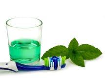 Tandborste och munvatten Fotografering för Bildbyråer