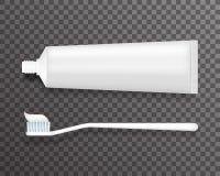 Tandborste och rör av illustrationen för vektor för bakgrund 3d för tandkrämmall den realistiska genomskinliga Royaltyfri Bild