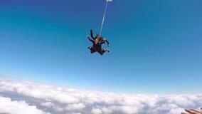 Tandem banhoppning för fallskärmshoppare lager videofilmer