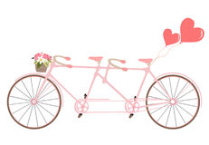 Tandem bicycle with basket fully of rose flowers and heart. Vect. Or. Ideal for invitation design, save the date, wedding and other. Valentine`s Day postcard Royalty Free Stock Images