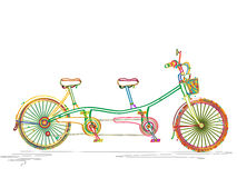 Tandem bicycle in colors vector illustration