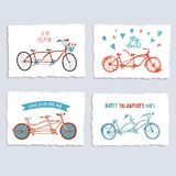 Tandem bicycle postcards set about love Royalty Free Stock Photography