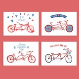 Tandem bicycle postcards set about love Royalty Free Stock Image