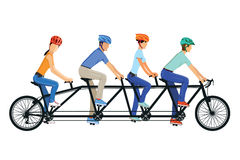 Tandem bicycle riders. Men and women riding tandem bicycle with helmets vector illustration