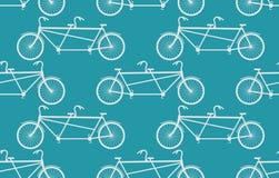 Tandem Bicycle seamless pattern. White Vintage bike blue backgro Stock Photos