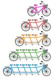 Tandem bicycle set, vector Royalty Free Stock Image