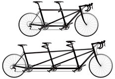 Tandem bicycle, twin and triplet Royalty Free Stock Photo