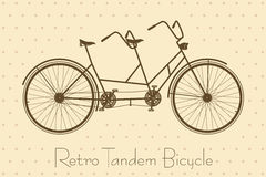 Tandem Bicycle Vintage Card. Tandem Bicycle. Retro Bike Vector in Vintage Style royalty free illustration