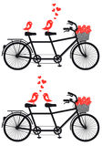 Tandem Bicycle With Love Birds, Vector