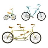 Tandem bike and bicycle  illustration  on white background. Stock Images