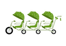 Tandem bikecycle green color for kids,Vector illustrations Royalty Free Stock Image