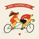 Tandem cyclists vintage illustration. Man cyclist and lady cyclist on vintage tandem bicycle. Colorful editable vector illustration for Valentine's Day Stock Photos