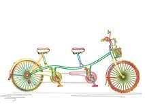 Tandem cykel i färger Fotografering för Bildbyråer