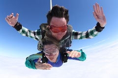 Tandem di Skydiving Immagine Stock