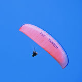 Tandem paraglider. Bright parachute in clear blue sky, square toned image Stock Images
