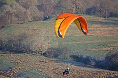 Tandem Paraglider flying Royalty Free Stock Images